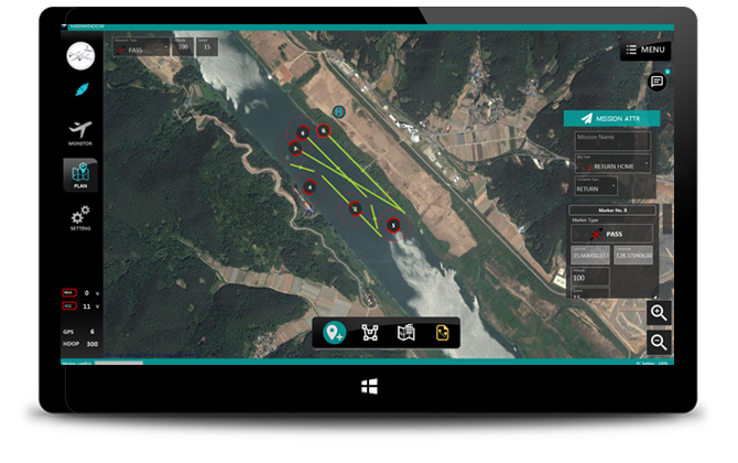 <li>Easily plan autonomous missions for your aircraft</li><li>Implement user friendly operations on waypoints <br>(adding, editing, moving, swaping etc.)</li><li>Save/ load/edit mission plans</li>